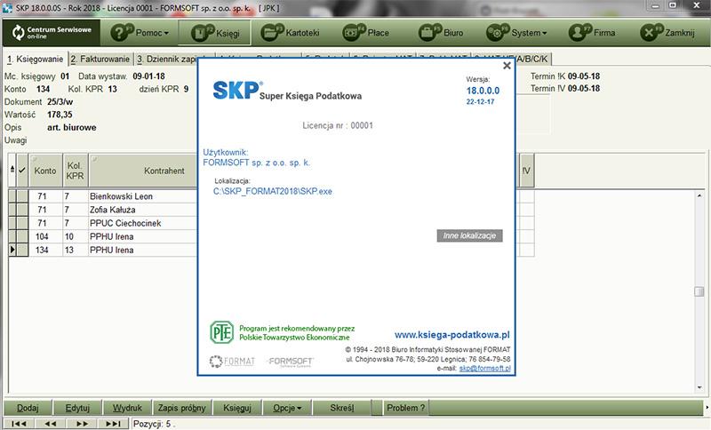 Zrzut strony początkowej Super Księgi Podatkowej programu dla firmy